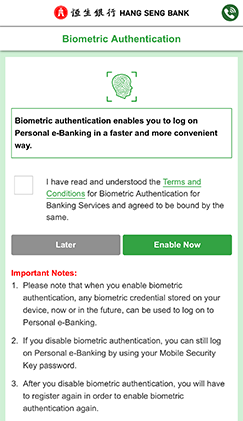 Mobile Security Key and Biometric Authentication - Hang Seng