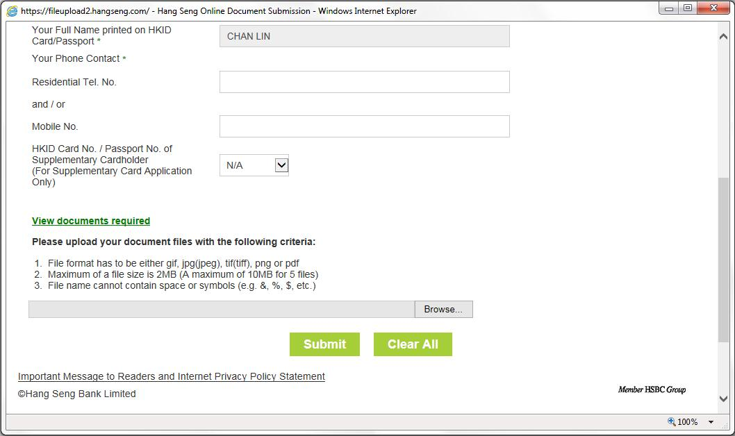 Submit Documents Online – Hang Seng Credit Card